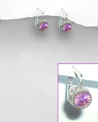 <b>Silver and pink and white zirconia earrings</b>