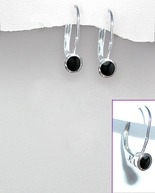 <b>Fine silver and onyx earrings</b>