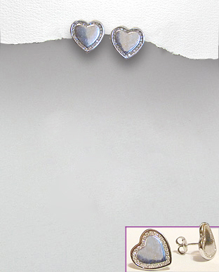 <b>Special silver-white zirconia earrings-hearts<b>