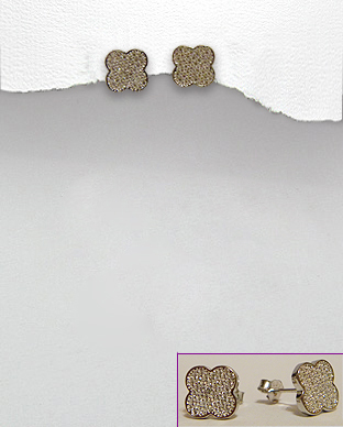 <b>Fine silver-white zirconia earrings-clover<b>