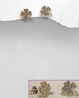 <b>Fine silver-white zirconia earrings-clover 1<b>