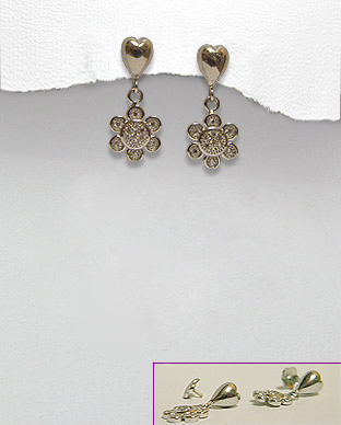 <b>Silver 925 and white zirconia earrings - flower</b>