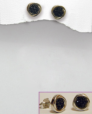 <b>Fine silver  - black zirconia earrings</b>
