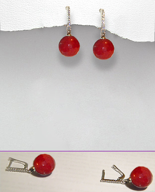 <b>Silver - agate white zirconia earrings</b>