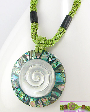 <b>Fancy abalone shell and wood necklace</b>