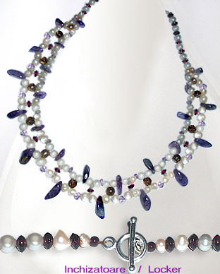 <b>Exclusive necklace - pearls, amethyst, garnet, smoky quartz