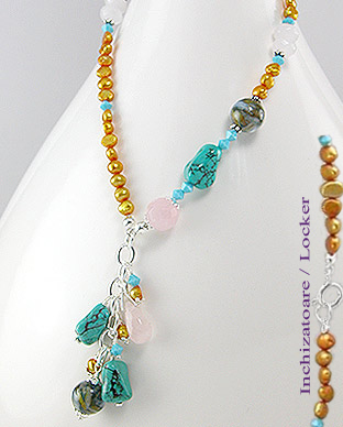 <b>Silver, turquoise, Swarovski crystals, quartz and pearls neck