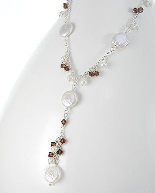 <b>Special silver, pearls and Swarovski crystals necklace</b>