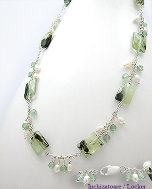 <b>Special aventurine, prehnite and pearls necklace</b>
