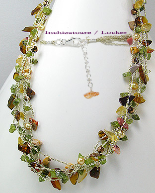 <b>Peridot, pearls, citrine and smoky quartz fancy necklace