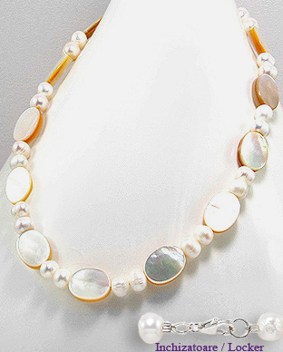 <b>Fancy necklace made of MOP, silver and pearls</b>