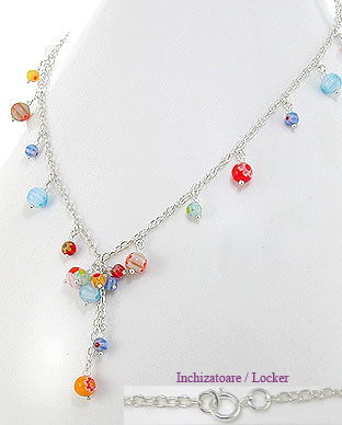 <b>Silver and Millefiori glass necklace</b>