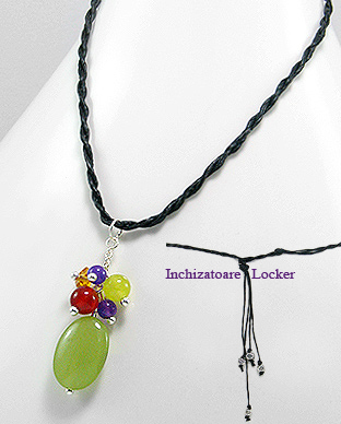 <b>Fancy necklace-  jade, silver, amethyst and carnelian</b>