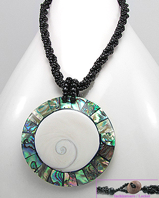 <b>Fancy abalone and shiva shell and wood necklace</b>