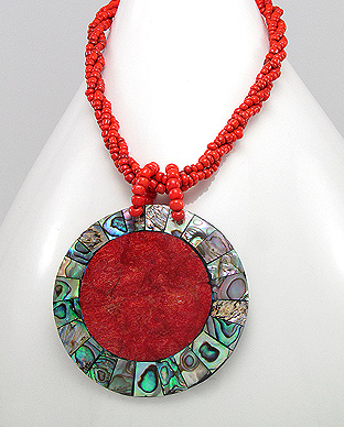 <b>Abalone shell, coral and wood necklace</b>