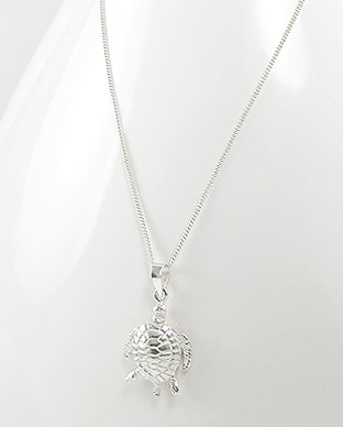 <b>Silver turtle pendant on silver chain</b>