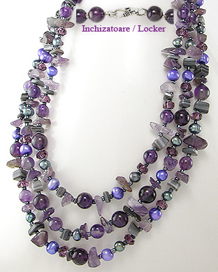 <b>Amethyst, Fresh Water Pearls and Glass special necklace</b>