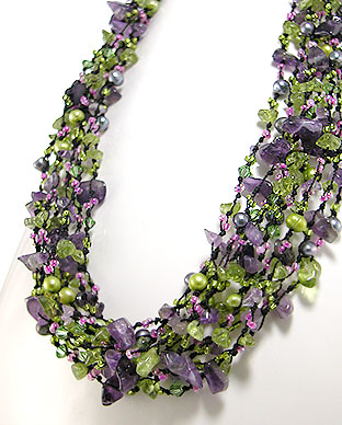 <b>Amethyst, peridot, pearls and Swarovski  crystals necklace<b>