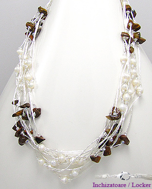 <b>Fancy necklace made of tiger eye and pearls</b>