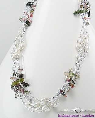 <b>Fancy necklace made of tourmaline and fresh water pearls</b>