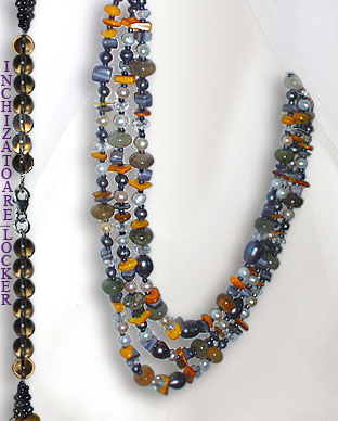 <b>Botswana agate, pearls,mop and glass necklace</b>