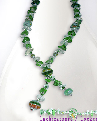 <b>Fancy millefiori beads-semi gem stones necklace - green</b>