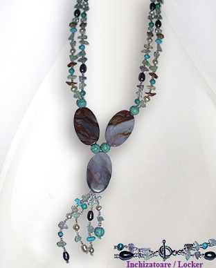 <b>Fancy necklace with turquoise, agate,pearls and fluorite</b>