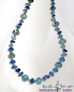 <b>Silver - Millefiori beads-semi gem stones necklace - turquois