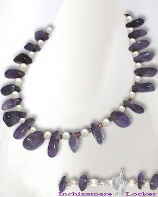 <b>Special amethyst and fresh water pearls necklace</b>
