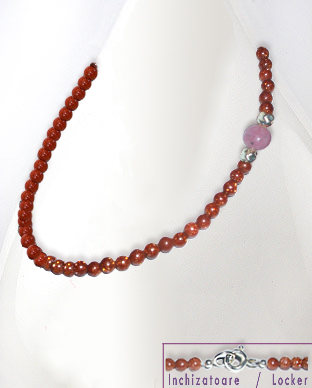 <b>Fine natural quartz,,silver and rhodonite necklace</b>