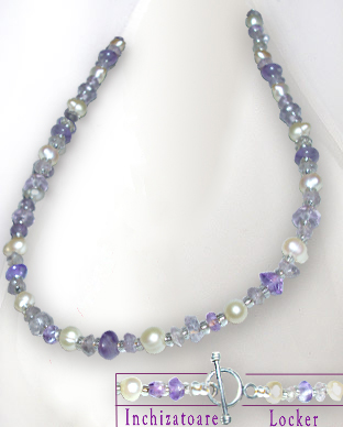 <b>Exclusive amethyst - natural pearls necklace</b>