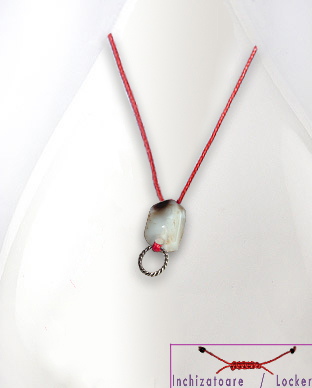 <b>Exclusive cotton, agate, onyx and silver necklace - red</b>