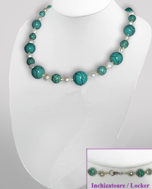 <b>Exclusive silver - pearls - turquoise necklace</b>