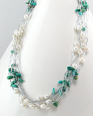 <b>Fancy necklace with turquoise semi gem stones and fresh water