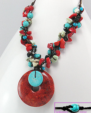 <b>Fancy coral, turquoise and onyx necklace</b>