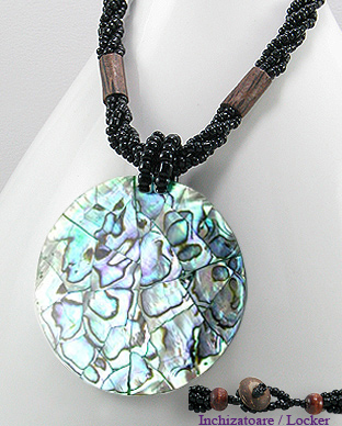 <b>Abalone shell and wood necklace</b>