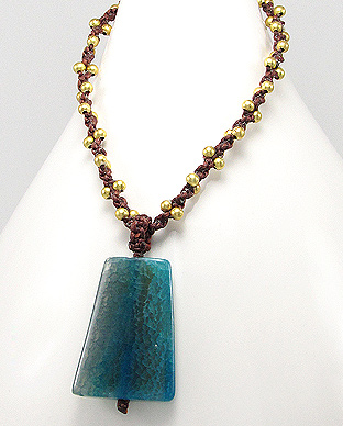 <b>Cotton, brass and light blue agate necklace </b>