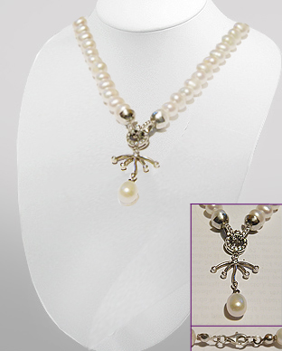 <b>Exclusive freshwater pearls, silver and CZ necklace</b>