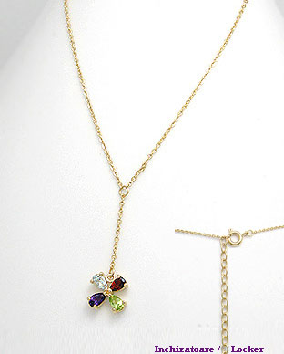 <b>Fine necklace with amethyst, garnet, peridot and topaz semi g