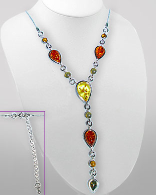 <b>Special necklace silver - colored amber</b>