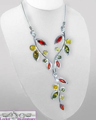 <b>Special silver - colored amber necklace</b>