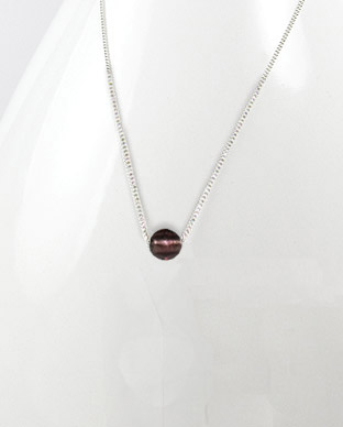 <b>Exclusive silver and Murano glass necklace - silvery purple</