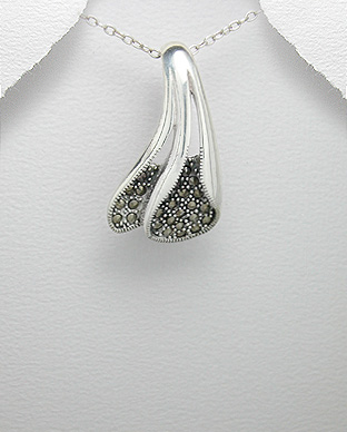 <b>Silver and marcasite pendant - asymmetric</b>