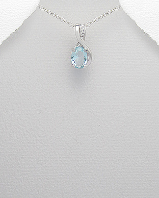 <b>Fine silver and blue/white zircon pendant</b>