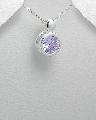 <b>Silver 925 and lavender zircon pendant</b>