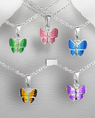 <b>Silver and colored enamel pendant - little butterfly</b>