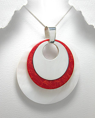 <b>Silver, shell and red resin pendant</b>
