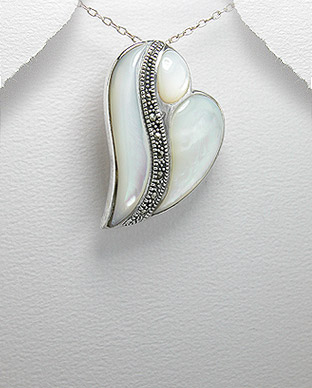 <b>Silver, shell and marcasite pendant</b>