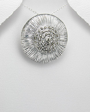 <b>Interesting silver and marcasite pendant</b>