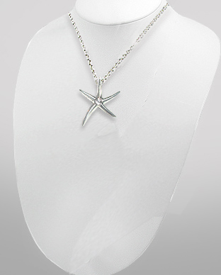 <b>Silver and white zirconia pendant - starfish<b>